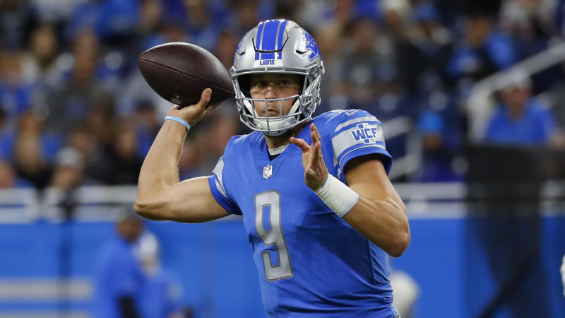 Detroit Lions quarterback Matthew Stafford throws against the New York Giants during an NFL football game in Detroit, Sunday, Oct. 27, 2019. (AP Photo/Paul Sancya)