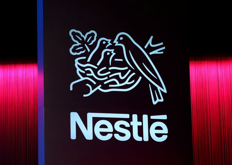 FILE PHOTO: A logo is pictured during the 152nd Annual General Meeting of Nestle in Lausanne