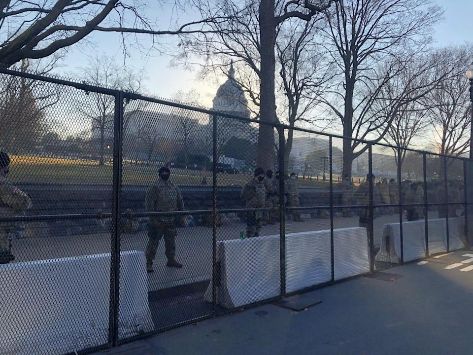 National Guard members stand outside the U.S. Capitol on Jan. 13.