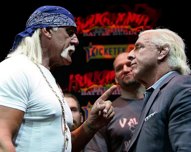 <p>Hulk Hogan and Ric Flair become involved in an altercation during a press conference for 'Hulkamania – Let The Battle Begin' at Star City on November 18, 2009 in Sydney, Australia. (Photo by Don Arnold/WireImage) </p>