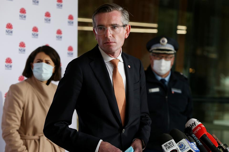 SYDNEY, AUSTRALIA - JULY 14: NSW Treasurer Dominic Perrottet takes questions during a press conference on July 14, 2021 in Sydney, Australia.