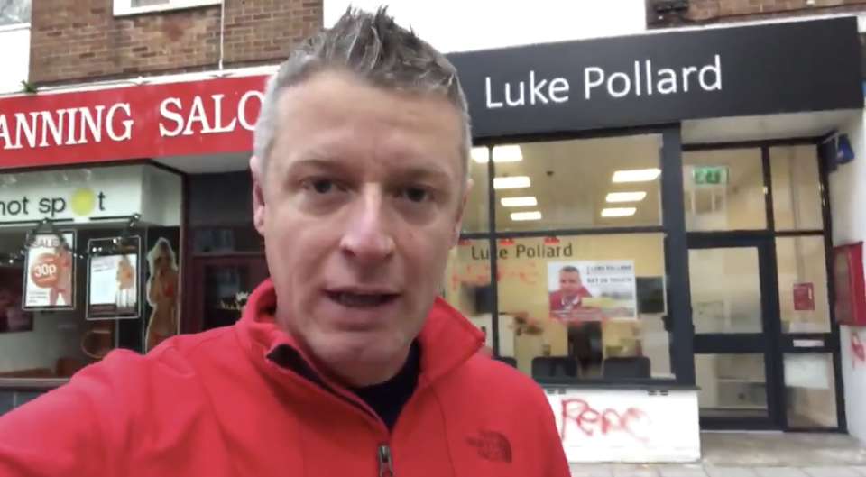 Luke Pollard was again targeted in a homophobic attack at his Plymouth constituency office. (Image: Twitter/@LukePollard)