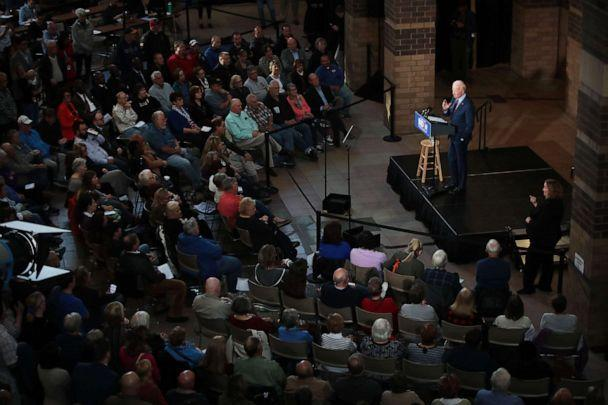 PHOTO: Democratic Presidential candidate former vice president Joe Biden speaks to guests during a campaign stop at the RiverCenter in Davenport, Iowa, Oct. 16, 2019. (Scott Olson/Getty Images, FILE)