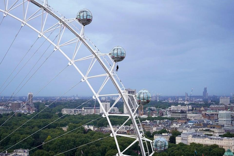 The daring stunt was performed at the landmark tourist attraction in central London (Kirsty O'Connor/PA) (PA Wire)