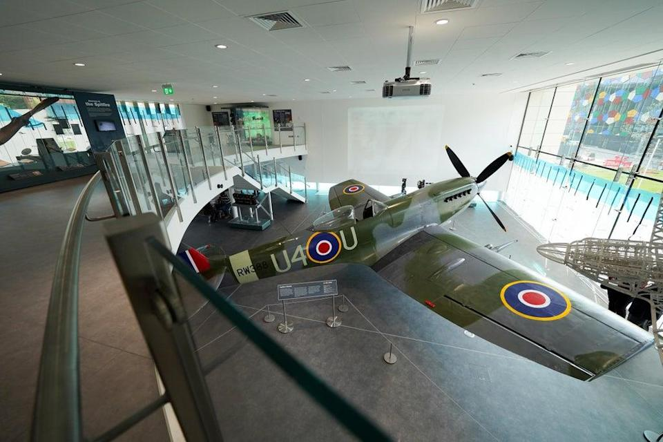 The Mark XVI Spitfire in the new £5.4 million extension to the museum (Jacob King/PA) (PA Wire)