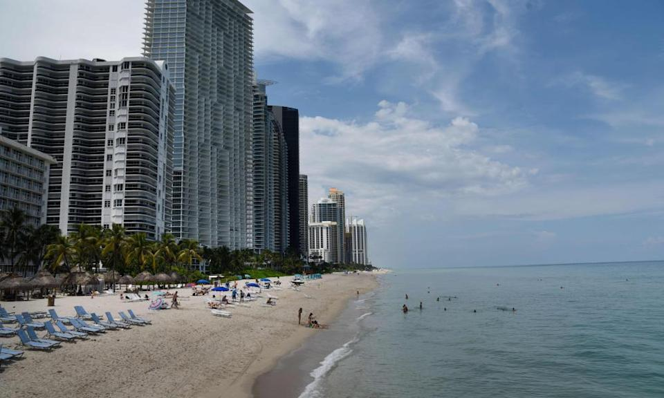 A beach near Miami on Thursday. The hurricane is expected to hit the coast early on Monday.