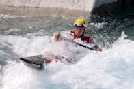 <p>TOKYO, JAPAN - JULY 29: Tereza Fiserova of Team Czech Republic competes during the Women's Canoe Slalom Semi-final on day six of the Tokyo 2020 Olympic Games at Kasai Canoe Slalom Centre on July 29, 2021 in Tokyo, Japan. (Photo by Harry How/Getty Images)</p>