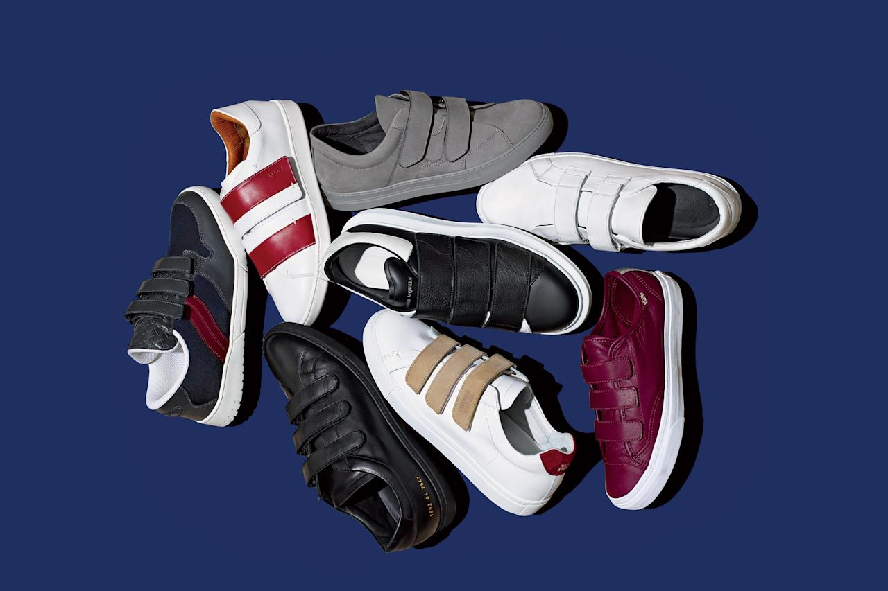 <p>The velcro sneakers you see here are actually made with the same high-end leather (and by the same high-end designers) as your best pair of dress shoes, which means they'll last—and look fresh—well into old age.</p>