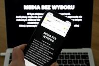The pages of Poland's main private internet portals have black pages with the slogan 'Media without choice' in protest against a proposed media advertising tax