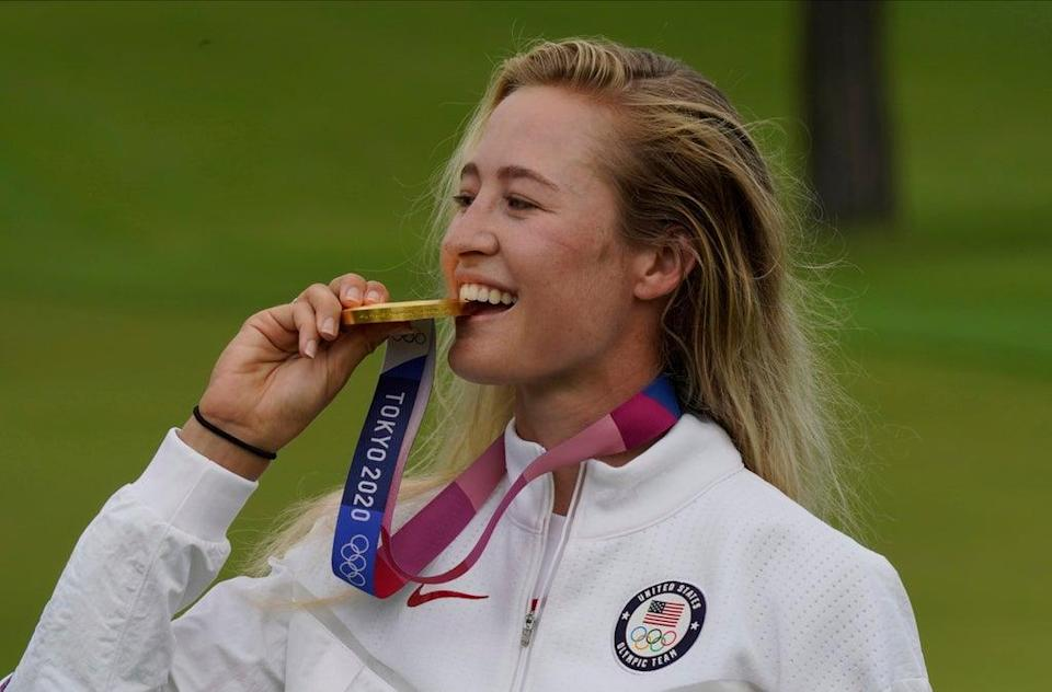 Olympic champion Nelly Korda is favourite for the AIG Women's Open at Carnoustie (Matt York/AP) (AP)