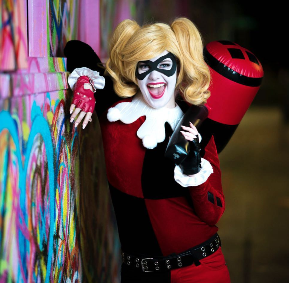 """<p>Ready to rock face paint and a full costume? This DIY Harley Quinn look takes the cake with its plush velvet suit, fluffy poms, and fingerless leather gloves. To create the mask, simply trace the design onto a piece of black felt and snip to size.</p><p><strong>See more at </strong><a href=""""https://www.instagram.com/p/BVDUPPwgx9Q/"""" rel=""""nofollow noopener"""" target=""""_blank"""" data-ylk=""""slk:Houston Hero Headquarters"""" class=""""link rapid-noclick-resp""""><strong>Houston Hero Headquarters</strong></a><strong>.</strong></p><p><a class=""""link rapid-noclick-resp"""" href=""""https://www.amazon.com/Online-Fabric-Store-4336913854-Black/dp/B003ZF9440?tag=syn-yahoo-20&ascsubtag=%5Bartid%7C10050.g.29418972%5Bsrc%7Cyahoo-us"""" rel=""""nofollow noopener"""" target=""""_blank"""" data-ylk=""""slk:SHOP BLACK FELT""""><strong>SHOP BLACK FELT</strong></a></p>"""