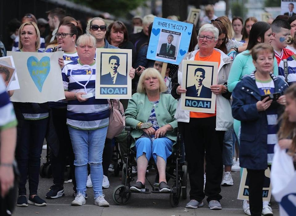 Supporters of the Donohoe family at an earlier court hearing (Niall Carson/PA) (PA Wire)