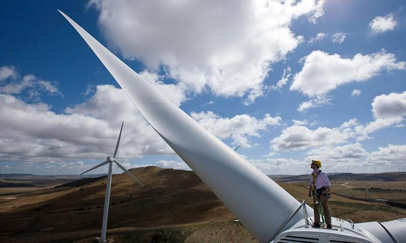 A wind turbine nacelle at Capital Wind Farm in Bungendore.