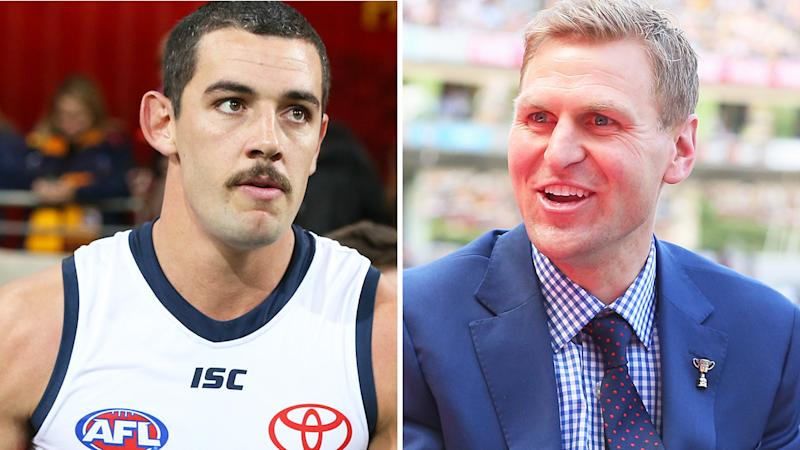 Taylor Walker and Kane Cornes are pictured in a 50/50 split image.