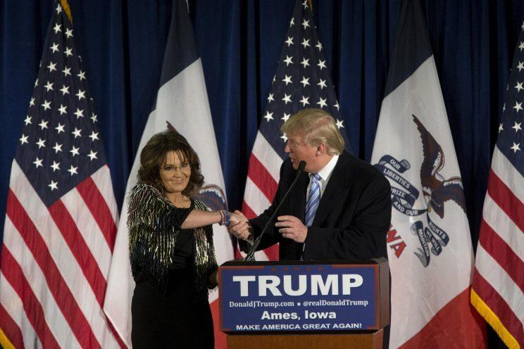 Trump receives Palin's endorsement in Ames, Iowa, Jan. 19, 2016. (Aaron P. Bernstein/Getty Images)