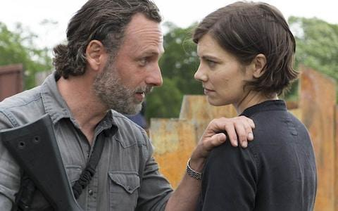 Andrew Lincoln as Rick and Lauren Cohan as Maggie - Credit: AMC
