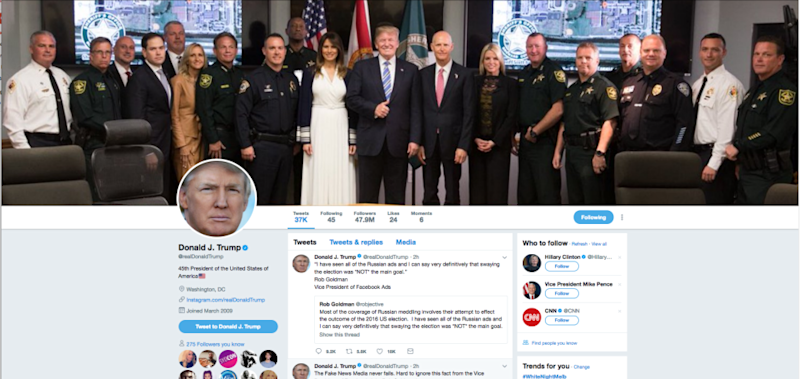 People are outraged by this picture of the the US President smiling, surrounded by first responders from the Florida school shooting. Photo: Donald Trump Twitter