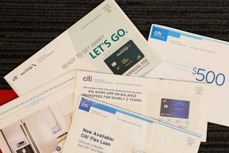 Balance transfer envelopes are pictured in a Reuters office in New York