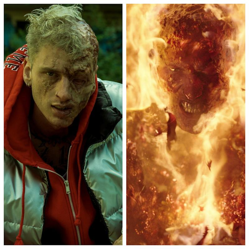 """Colson Baker (aka Machine Gun Kelly) lights up """"Project Power."""" Here's the full range of his character Newt."""