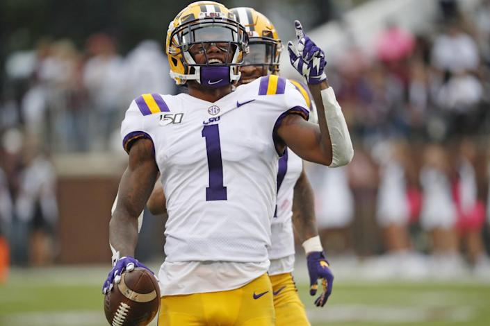 LSU wide receiver Ja'Marr Chase celebrates during a game.