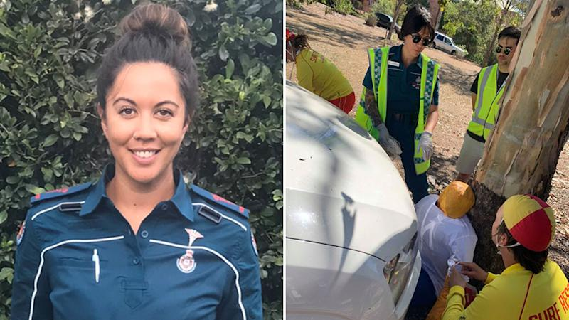 Kowai Timu, 28 pictured on the left is an advanced paramedic for the QAS, and on the right a Surf Life Saving Queensland training drill.