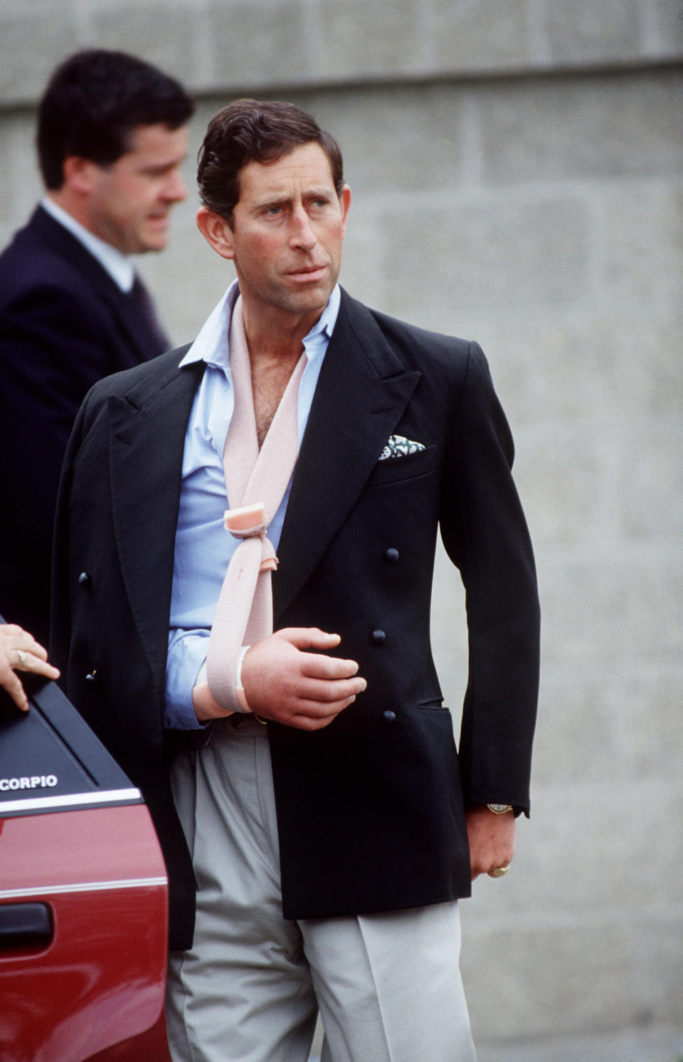 Prince Charles photographed leaving Cirencester Hospital following a polo accident [Photo: Getty]