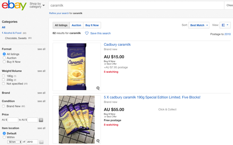 Desperate chocolate lovers have been flocking to eBay to get their fix. Photo: ebay.com.au