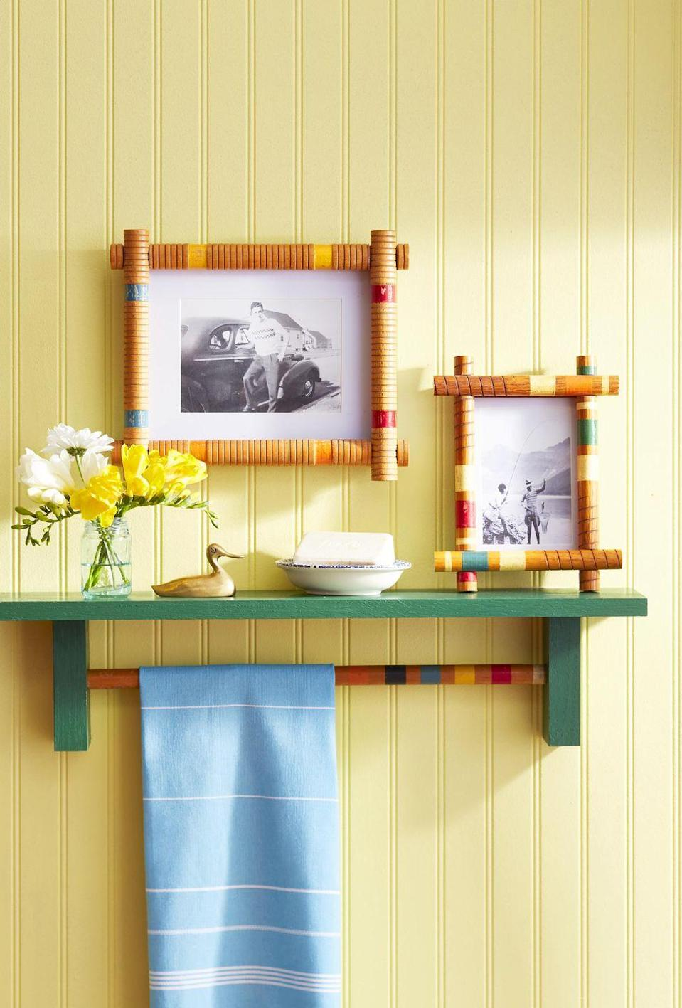 """<p>Colorful and poppy, these DIY frames will look great in a cabin or kids room. <strong><br></strong></p><p><strong>To make: </strong>For an 8 1/2-by-11-inch """"frame,"""" cut four pieces from croquet mallet handles, two 10 1/2 inches long and two 12 1/2 inches long. Chisel a small rectangle the width of the mallet near the ends of the long lengths for the short lengths to rest in. Glue the four pieces together, then to a frame. For a 5-by-7-inch frame, cut the handles to7 inches and 9 inches.</p>"""