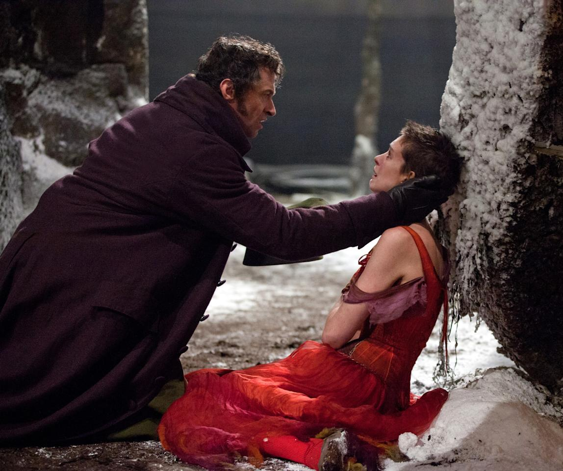 LES MISERABLES, from left: Hugh Jackman, Anne Hathaway, 2012.