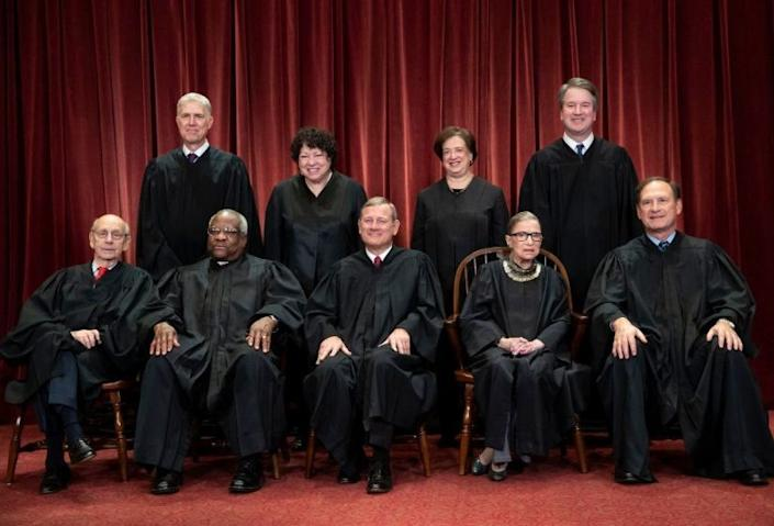 "The U.S. Supreme Court justices. <span class=""copyright"">(J. Scott Applewhite / Associated Press)</span>"