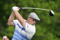 Bryson DeChambeau tees off on the 10th hole during the first round of the Memorial golf tournament, Friday, June 4, 2021, in Dublin, Ohio. (AP Photo/Darron Cummings)
