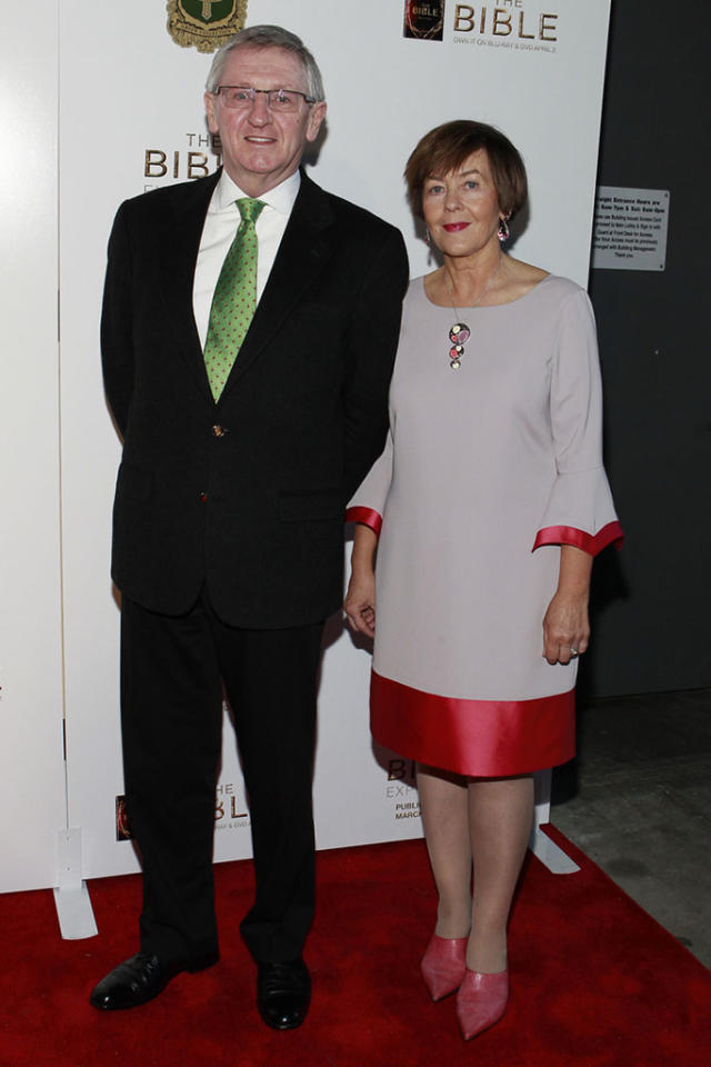 """Consul General of Ireland Noel Kilkenny and Hanora O'Dea Kilkenny arrive at """"The Bible Experience"""" opening night gala, a rare exhibit of biblical artifacts, in New York City on Tuesday, March 19 in New York."""