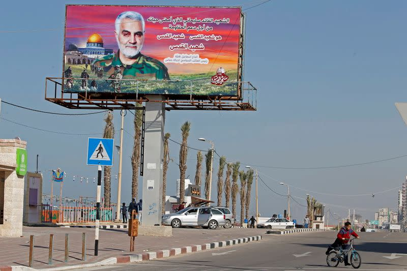 A large portrait of Iranian military commander General Qassem Soleimani, who was killed in a U.S. attack in Iraq, is seen in Gaza City