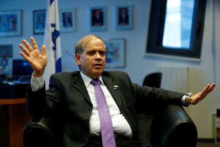 Israeli ambassador to Germany Yakov Hadas-Handelsman speaks during an interview with Reuters at the embassy of Israel in Berlin, Germany, February 23, 2017.   Picture taken February 23.   REUTERS/Fabrizio Bensch