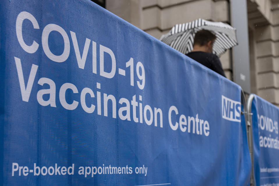 LONDON, ENGLAND - JUNE 04: Signage outside a Covid-19 vaccination centre at the Science Museum on June 04, 2021 in London, England. (Photo by Rob Pinney/Getty Images)