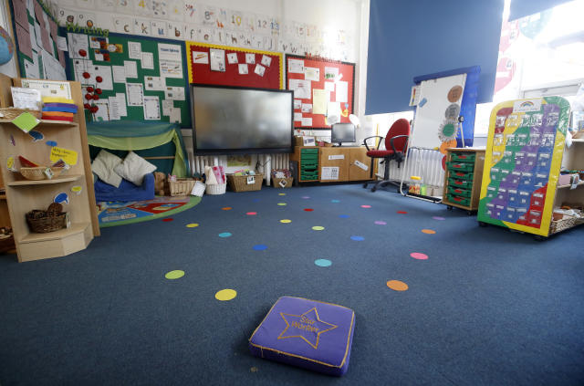 Empty floor spaces in a classroom at Manor Park School and Nursery in Knutsford, Cheshire, the day after Boris Johnson put the UK in lockdown. (PA)