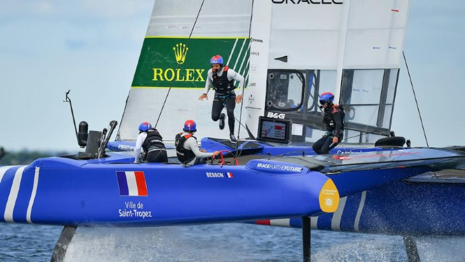 Sailors often have to scramble across the boat on the racecourse. - Credit: Courtesy SailGP