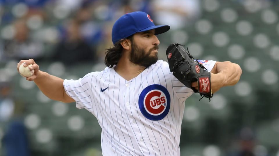 Chicago Cubs closing pitcher Dillon Maples delivers a pitch during the ninth inning of a baseball game against the Milwaukee Brewers Friday, April 23, 2021, in Chicago. Chicago won 15-2. (AP Photo/Paul Beaty)