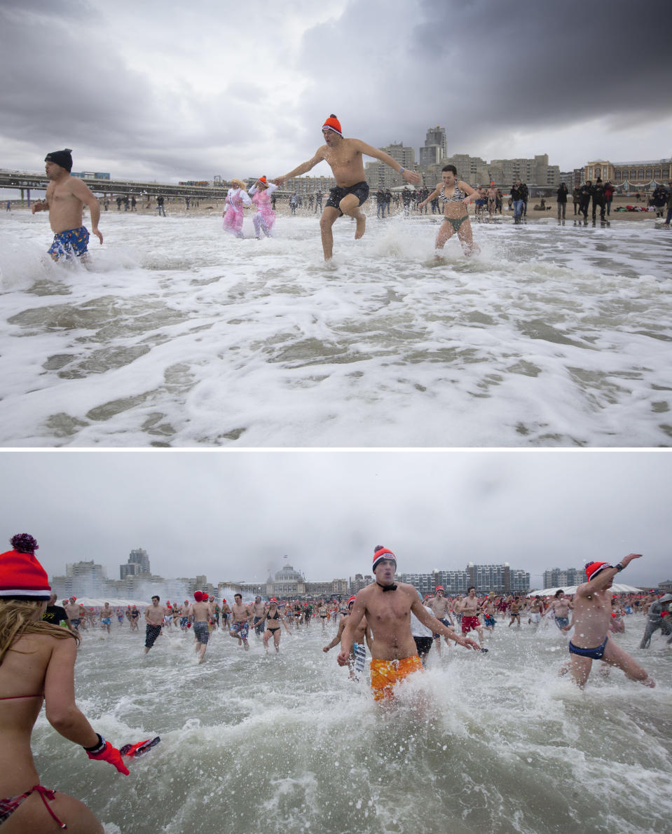 This combo image shows at top that in stark contrast to previous years only a few people braved chilly temperatures to take the traditional New Year's dip in the North Sea, in Scheveningen, on Friday, Jan. 1, 2021, and below, a file photo taken from the same angle as hundreds of people ran into the sea during New Year's celebrations in 2012. Coronavirus restrictions canceled celebrations and gatherings throughout The Netherlands. As the world said goodbye to 2020, a year ruined by the coronavirus, there were countdowns and live performances, but no massed jubilant crowds in traditional gathering spots. (AP Photo/Peter Dejong)
