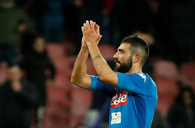 Soccer Football - Serie A - Napoli vs Genoa - Stadio San Paolo, Naples, Italy - March 18, 2018 Napoli's Raul Albiol celebrates after the match REUTERS/Ciro De Luca