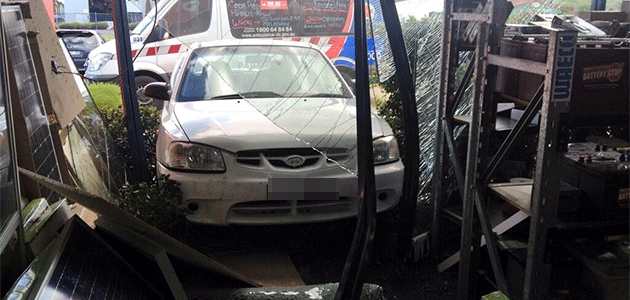 Driver, 77, slammed into the front of Campbellfield battery shop. Photo: 7News