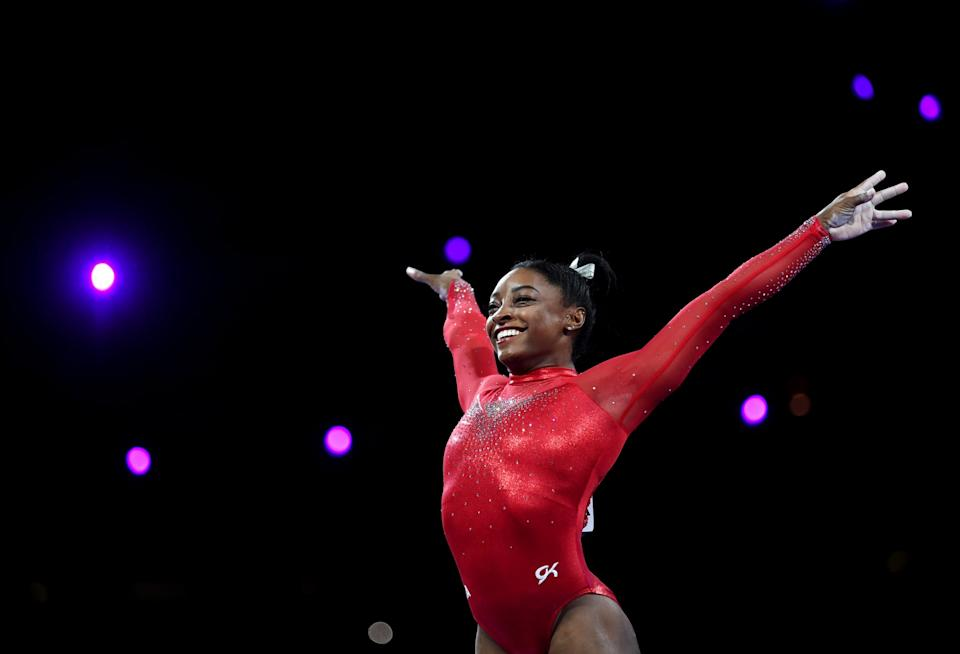STUTTGART, GERMANY - OCTOBER 12: Simone Biles of USA competes on Vault during the Apparatus Finals on Day 9 of the FIG Artistic Gymnastics World Championships at Hanns Martin Schleyer Hall on October 12, 2019 in Stuttgart, Germany. (Photo by Laurence Griffiths/Getty Images)