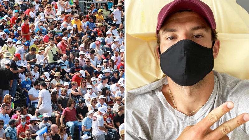 Grigor Dimitrov, pictured here after testing positive for coronavirus at the Adria Tour tennis event.