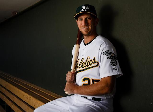 "A's outfielder <a class=""link rapid-noclick-resp"" href=""/mlb/players/9628/"" data-ylk=""slk:Stephen Piscotty"">Stephen Piscotty</a> is bringing awareness to ALS in support of his mother. (Getty Images)"