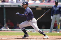 Tampa Bay Rays' Austin Meadows grounds out in the first inning of a baseball game against the Cleveland Indians, Sunday, July 25, 2021, in Cleveland. Rays' Randy Arozarena scored on the play. (AP Photo/Tony Dejak)