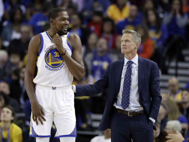 Kevin Durant and Steve Kerr know something about getting to the NBA Finals. (AP)