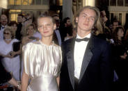 Actress Martha Plimpton and actor River Phoenix attend the 61st Annual Academy Awards on March 29, 1989 at Shrine Auditorium in Los Angeles, California. (Photo by Ron Galella, Ltd/Ron Galella Collection via Getty Images)