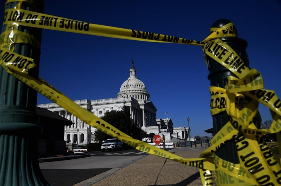 police tape outside us capitol building
