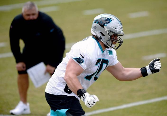 Carolina Panthers rookie tackle Brady Christensen works on technique during the teamÕs 2021 rookie minicamp practice on Friday, May 14, 2021.