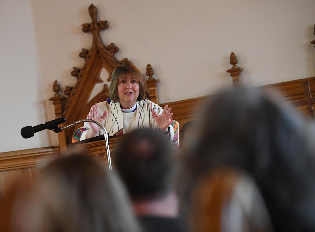 """Bishop Karen Oliveto&nbsp;became the United Methodist Church's first married lesbian&nbsp;bishop in <a href=""""http://www.umc.org/news-and-media/western-jurisdiction-elects-openly-gay-united-methodist-bishop"""" rel=""""nofollow noopener"""" target=""""_blank"""" data-ylk=""""slk:2016"""" class=""""link rapid-noclick-resp"""">2016</a>. The denomination's top court&nbsp;later found that she was in violation of a church law that bars&nbsp;clergy who are <a href=""""http://www.denverpost.com/2017/05/06/gay-bishop-karen-oliveto-supporters-lgbtq-movement/"""" rel=""""nofollow noopener"""" target=""""_blank"""" data-ylk=""""slk:&ldquo;self-avowed practicing homosexuals&quot;"""" class=""""link rapid-noclick-resp"""">&ldquo;self-avowed practicing homosexuals""""</a>&nbsp;but <a href=""""http://www.denverpost.com/2017/05/06/gay-bishop-karen-oliveto-supporters-lgbtq-movement/"""" rel=""""nofollow noopener"""" target=""""_blank"""" data-ylk=""""slk:decided not to remove her from her post."""" class=""""link rapid-noclick-resp"""">decided not to remove her from her post.</a>&nbsp;Although she may be suspended or forced to retire in the future, Oliveto remains sure that her presence&nbsp;<a href=""""https://www.ncronline.org/news/theology/bishop-karen-oliveto-my-presence-changes-conversation-lgbtq-people"""" rel=""""nofollow noopener"""" target=""""_blank"""" data-ylk=""""slk:&quot;changes the conversation.&quot;  &quot;It's no longer an issue. It's about people,&quot;"""" class=""""link rapid-noclick-resp"""">""""changes the conversation.""""<br><br>""""It's no longer an issue. It's about people,""""</a>&nbsp;she told Religion News Service."""